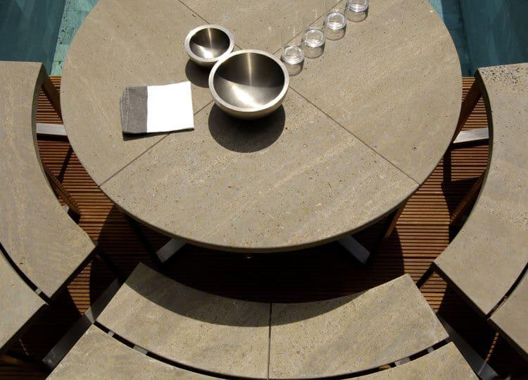 Muschelkalk-Tisch-Bank-rund