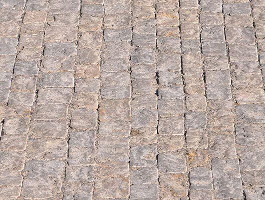 Pflaster Travertin Muschelkalk sandgestrahlt