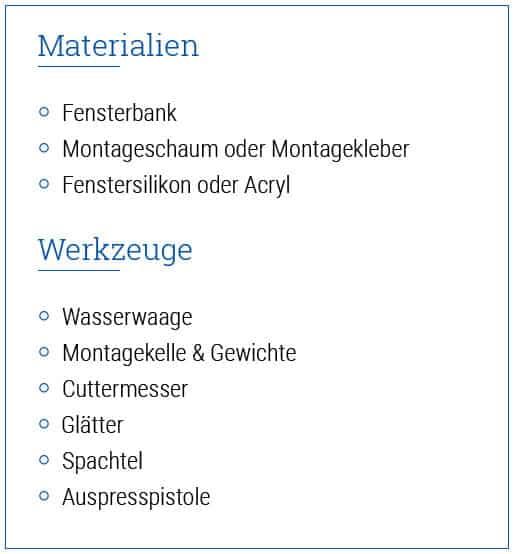 Fensterbank innen - Material & Werkzeug