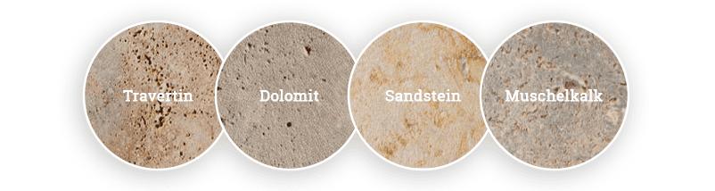 Die unterschiedlichen Gesteinsarten der TRACO Manufactur
